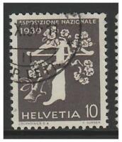 Suiza - 1939 ,10c Nacional Exposición (Italiano) (Parrilla Goma) - F / u-Sg