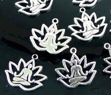 10 Yoga Meditation Charms Antique Silver Pewter Lotus Flower Healing Pendant