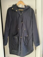H&M Divided Navy Blue Hooded Utility Parka Coat Size 12 Used