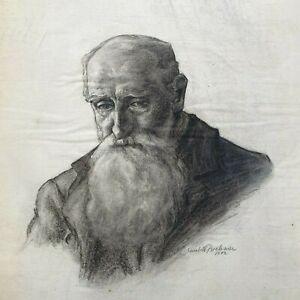 Academic Drawing, portrait of an old man, 1902, Elisabeth BREHMER, Sweden