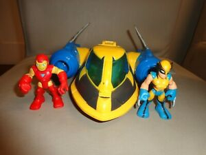 Marvel Super Hero Adventures Playskool Heroes Rescue Jet with Wolverine Iron Man