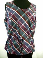 Tartan Plaid Silk Sleeveless Blouse Kate Hill Top Blue Red 14W Women's