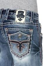 New NWT Mens Rock Revival Denim Jeans Leotis Straight Leg 30x34