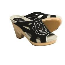 New Earthies Tropez black slip on chunky wood heel open toe mule sandals shoes 9