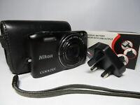 Nikon Coolpix S6800 16MP 12x Wide Nikkor Zoom Full HD WiFi Black Digital Camera