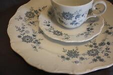 Seltmann Weiden Bavarian Blue Porcelain  Set 3 Dinner Place High Tea Cup Saucer