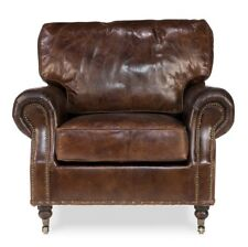 "39"" Long Adelmo Chair Woo Vintage Cigar LeatherNailhead Handmade 792"
