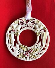 Wedgwood Noel Wreath Ornament 2001 White Jasperware with Red and Gold Detailing