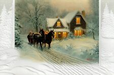 16 Embossed Boxed Christmas Cards Horses And Sleigh Ill Be Home