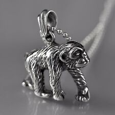 silver monkey ape pendant stainless steel ball chain necklace solid 60cm