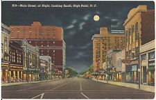 Main Street at Night in High Point NC Postcard 1941