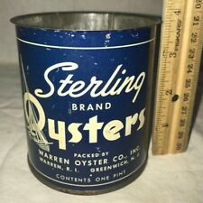 ANTIQUE STERLING OYSTERS TIN LITHO PT CAN VINTAGE SEAFOOD WARREN RI GREENWICH NJ