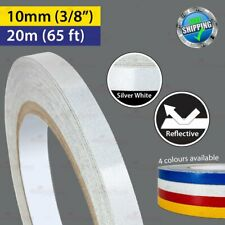 """SILVER WHITE Reflective Conspicuity PinStriping Vinyl Tape 10mm 3/8"""" 20m 65ft"""