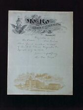 USED LETTEHEAD 1919 JOHN F. BAUER CO ELMIRA NY MO-KO COFFEE ILLUS DUTCH GIRL
