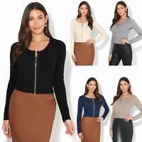Womens Ladies Cardigan Cashmere Knit Jumper Crop Top Zip Soft Long Sleeve Work