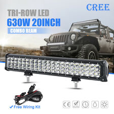 """20inch 630W CREE LED Work Light Bar Tri-row Combo Offroad UTE Driving Truck 22"""""""