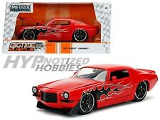 JADA 1:24 METALS 1971 CHEVROLET CAMARO W/ BLACK FLAMES DIE-CAST RED 99969