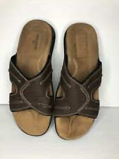 Dockers Mens Sz 12 M Fusion Footbed Brown Leather Walking Slides Sandals