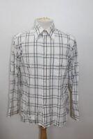 """BALMAIN Men's White Cotton Collared Checked Formal Shirt Collar Size 16"""" 41cm"""