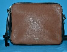 FOSSIL 1954 Black Brown Pebbled Leather Revival Small Crossbody Purse Bag NWOT