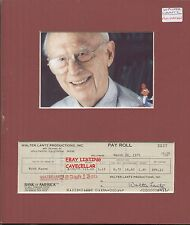 WALTER LANTZ  GENUINE ORIGINAL HAND SIGNED CHEQUE 1975 DISPLAY WOODY WOODPECKER