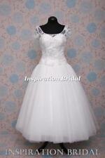 Beading Boat Neck Cap Sleeve Short Wedding Dresses