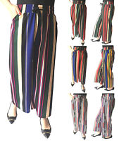 Womens Wide Leg High Waist Palazzo Pants Casual Culottes Cropped Loose Pants