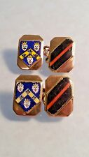 1936 Enamel on rose gold armorial four shield 9ct gold cufflinks