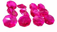 50 Fuchsia Pink 14mm Octagon Chandelier Crystals Beads Prism Suncatcher