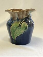 Remued Pottery Grapes & Leaf Plump Vase in Beautiful Blue, Green & Brown glaze