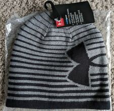 Youth Boys Under Armour ColdGear Winter Beanie Hat in Grey / Black  MSRP $21.99