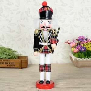 Wooden Royal Soldier Nutcracker Holding Bagpipe, Traditional Festive Christmas
