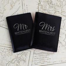 Personalized Black Mr & Mrs Passport Covers - Wedding Passport Holder Honeymoon
