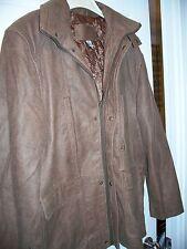 NEW Men's Size L Wallance H Soft Leather Light Brown Winter Coat