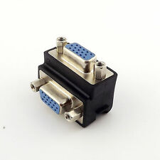 1x Right Angle 90° Degree 15 Pin VGA SVGA Female to VGA Female Adapter Converter
