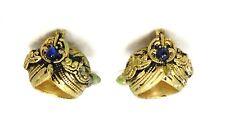 Vintage Cuff Links Rare Indian Turban Gold Plated Blue Stone Head Wrap Wedding