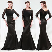 Long Lace Bridesmaid Cocktail Evening Prom Dress Formal Party Ball Gown Black 16