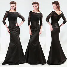3/4 Sleeve Black Red Lace Bridesmaid Ball Gown Evening Party Long Prom Dresses