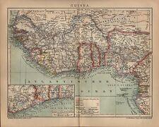 Landkarte map 1902: GUINEA. Africa Afrika Maßstab: 1 : 12.000 000