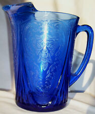 HAZEL ATLAS ROYAL LACE COBALT BLUE 48-OUNCE STRAIGHT-SIDES PITCHER!
