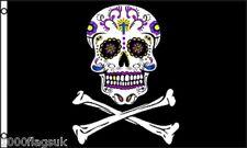 Pirate Jolly Roger Skull and Crossbone Sugar Skull 5'x3' Flag !