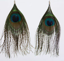 """Super big Genuine peacock feather dangle earrings french hook 5"""" long authentic"""