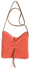 NEW Lucky Brand Orange Ojai Crochet & Leather Fringe Crossbody Handbag MSR $99