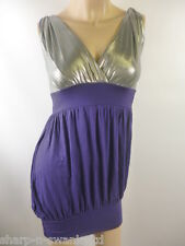 ☆ RARE Ladies Purple/Silver Mini Party Dress UK 8 EU 34 ☆
