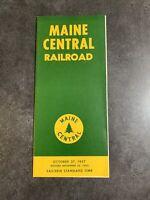 Vintage 1957 Maine Central Railway Passenger Schedule