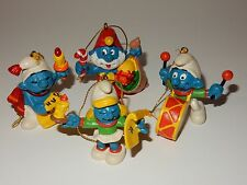 Schleich 1981 Smurf Christmas Ornaments ~ Papa, Smurfette, Drummer & Caroler