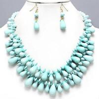 Chunky Aqua Layered Cluster Acrylic Bead Earrings Necklace Jewelry Set