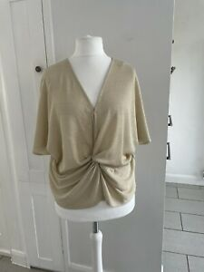 BNWT Marks & Spencer Gold Twist Front Top Size 18 Christmas Flattering Party
