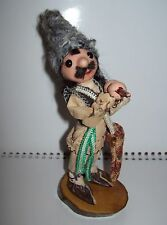 Russian Vintage USSR 1980s Collectible Doll on wooden stand handmade Shepherd