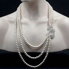 Creamy White Pearl Crystal Flower 3 Rows Beaded Strand/String Necklace 1949 Long